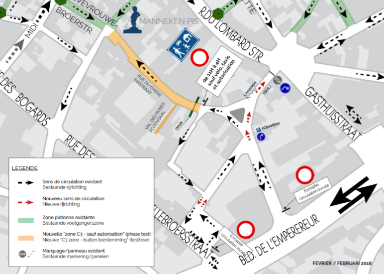 Map with traffic changes at the Rue du Chêne quarter