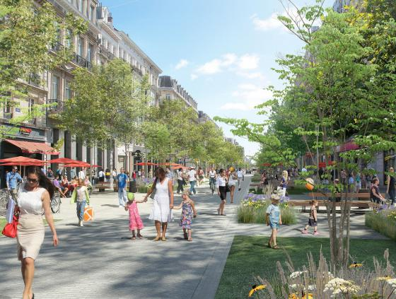 Works at the Boulevard Anspach between the Rue des Pierres and Rue des Teinturiers