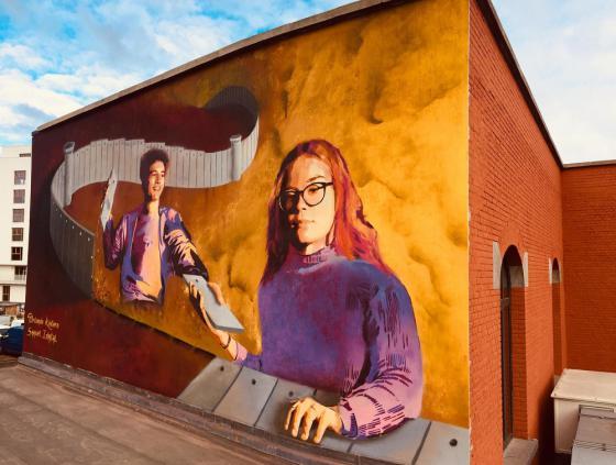 Street art wall at the Athénée Marguerite Yourcenar