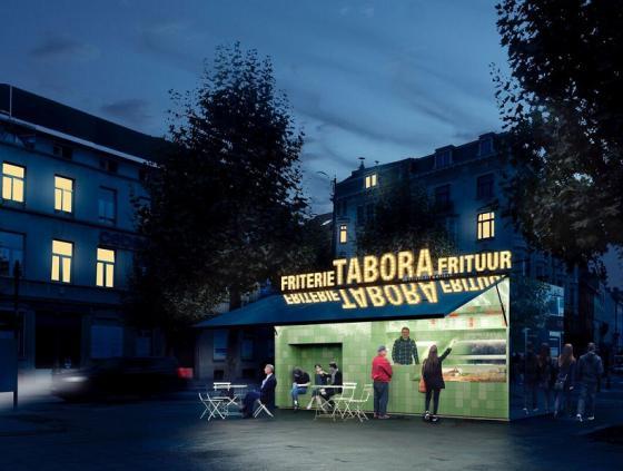 Simulation fritkot Rue de Laeken - nuit