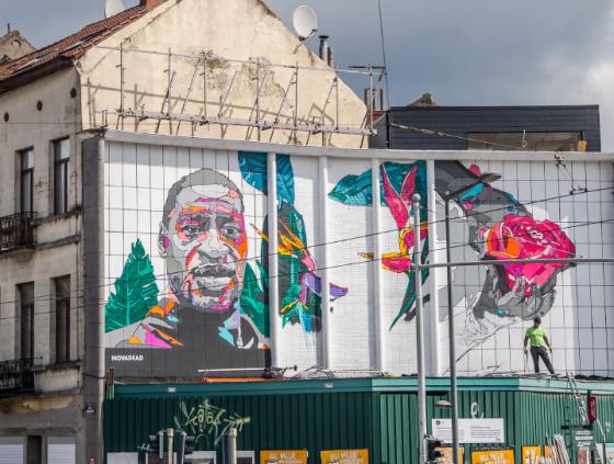 Street art wall in memory of George Floyd