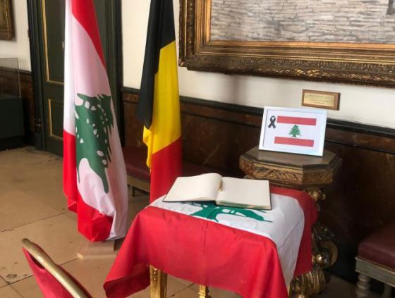 Condolence book for victims of the Beirut explosion