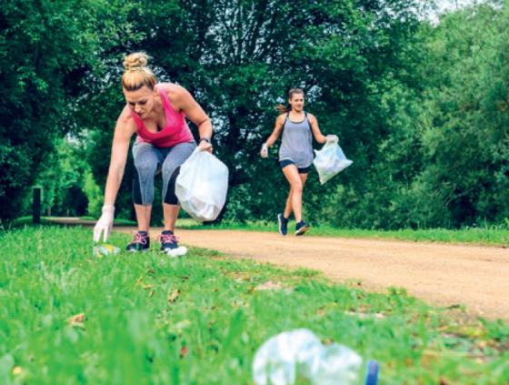 Plogging: walking and picking up litter