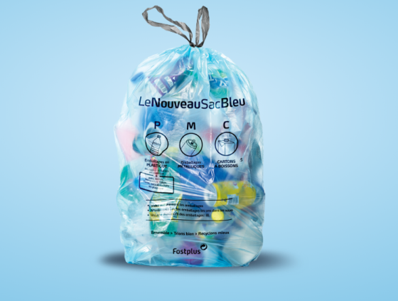 New plastic packaging in blue bags