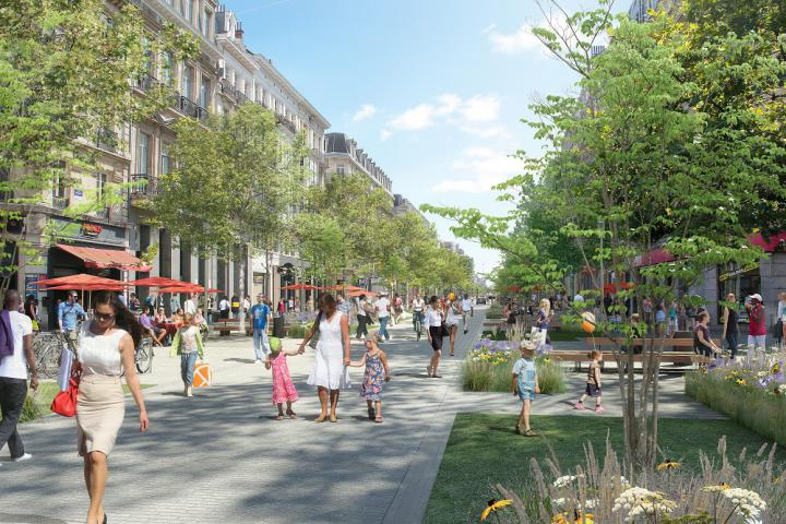 Works at the Boulevard Anspach between the Rue du Marché aux Poulets and Rue Grétry