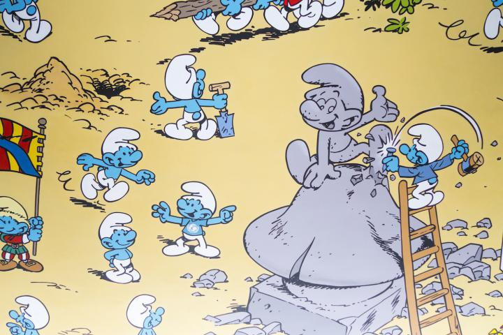 Comic book wall of the Smurfs in front of Central Station